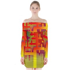Binary Binary Code Binary System Long Sleeve Off Shoulder Dress