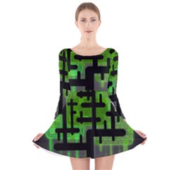 Binary Binary Code Binary System Long Sleeve Velvet Skater Dress