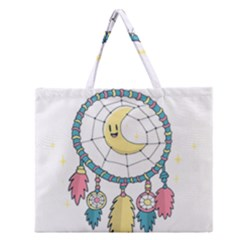 Cute Hand Drawn Dreamcatcher Illustration Zipper Large Tote Bag