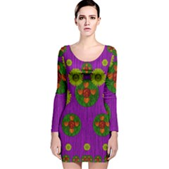 Buddha Blessings Fantasy Long Sleeve Velvet Bodycon Dress