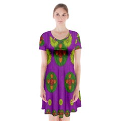 Buddha Blessings Fantasy Short Sleeve V-neck Flare Dress