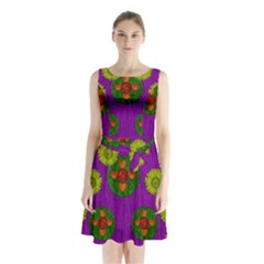 Buddha Blessings Fantasy Sleeveless Chiffon Waist Tie Dress