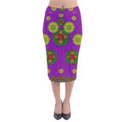 Buddha Blessings Fantasy Velvet Midi Pencil Skirt