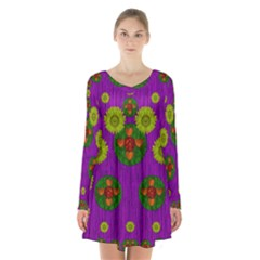Buddha Blessings Fantasy Long Sleeve Velvet V-neck Dress