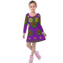 Buddha Blessings Fantasy Kids  Long Sleeve Velvet Dress