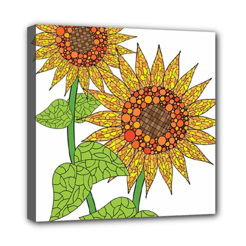 Sunflowers Flower Bloom Nature Mini Canvas 8  X 8