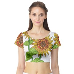Sunflowers Flower Bloom Nature Short Sleeve Crop Top (Tight Fit)