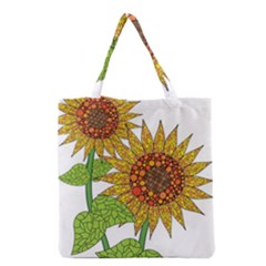 Sunflowers Flower Bloom Nature Grocery Tote Bag
