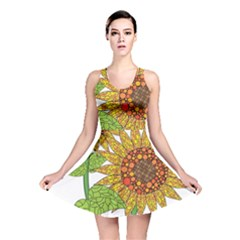 Sunflowers Flower Bloom Nature Reversible Skater Dress