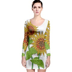 Sunflowers Flower Bloom Nature Long Sleeve Bodycon Dress