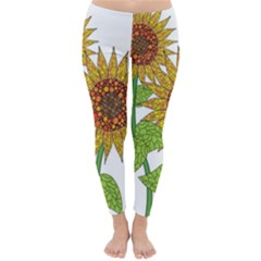 Sunflowers Flower Bloom Nature Classic Winter Leggings