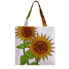 Sunflowers Flower Bloom Nature Zipper Grocery Tote Bag