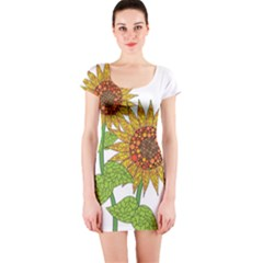 Sunflowers Flower Bloom Nature Short Sleeve Bodycon Dress