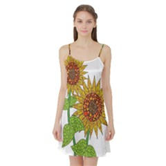 Sunflowers Flower Bloom Nature Satin Night Slip