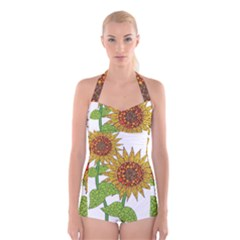 Sunflowers Flower Bloom Nature Boyleg Halter Swimsuit