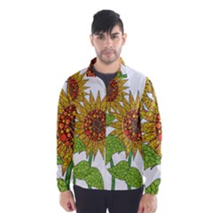 Sunflowers Flower Bloom Nature Wind Breaker (Men)