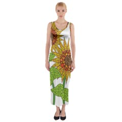 Sunflowers Flower Bloom Nature Fitted Maxi Dress