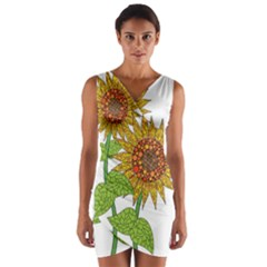 Sunflowers Flower Bloom Nature Wrap Front Bodycon Dress