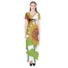 Sunflowers Flower Bloom Nature Short Sleeve Maxi Dress