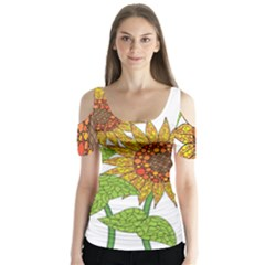 Sunflowers Flower Bloom Nature Butterfly Sleeve Cutout Tee