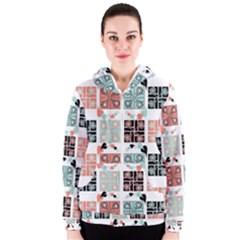 Mint Black Coral Heart Paisley Women s Zipper Hoodie
