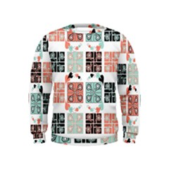 Mint Black Coral Heart Paisley Kids  Sweatshirt