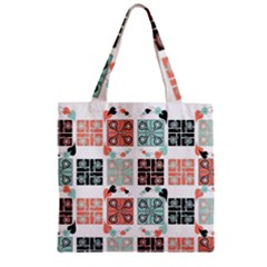 Mint Black Coral Heart Paisley Zipper Grocery Tote Bag