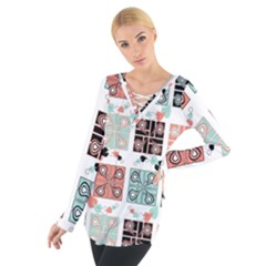 Mint Black Coral Heart Paisley Women s Tie Up Tee