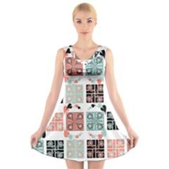 Mint Black Coral Heart Paisley V-Neck Sleeveless Skater Dress