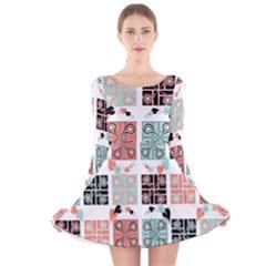 Mint Black Coral Heart Paisley Long Sleeve Velvet Skater Dress