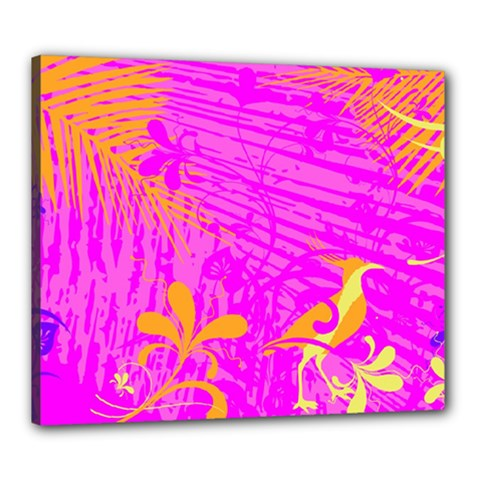 Spring Tropical Floral Palm Bird Canvas 24  X 20