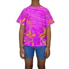 Spring Tropical Floral Palm Bird Kids  Short Sleeve Swimwear