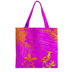 Spring Tropical Floral Palm Bird Grocery Tote Bag
