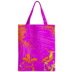 Spring Tropical Floral Palm Bird Zipper Classic Tote Bag