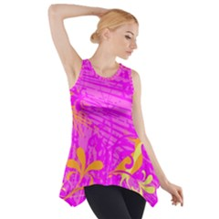 Spring Tropical Floral Palm Bird Side Drop Tank Tunic