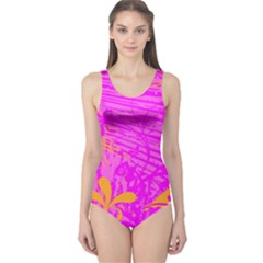 Spring Tropical Floral Palm Bird One Piece Swimsuit