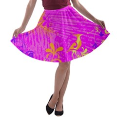 Spring Tropical Floral Palm Bird A Line Skater Skirt