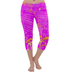 Spring Tropical Floral Palm Bird Capri Yoga Leggings