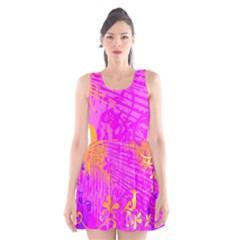 Spring Tropical Floral Palm Bird Scoop Neck Skater Dress