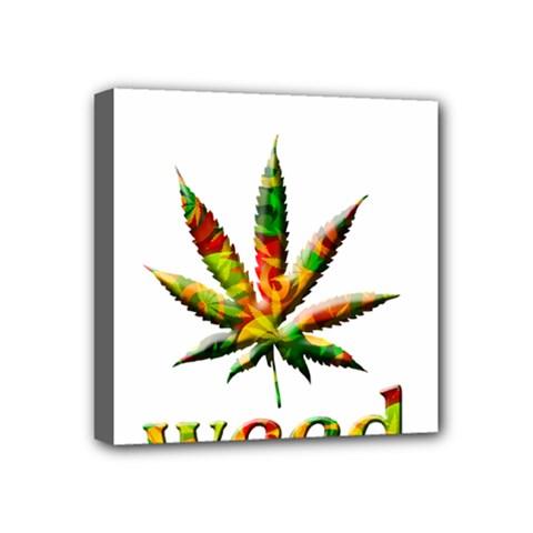 Marijuana Leaf Bright Graphic Mini Canvas 4  x 4