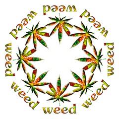 Marijuana Leaf Bright Graphic Hook Handle Umbrellas (Medium)