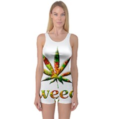 Marijuana Leaf Bright Graphic One Piece Boyleg Swimsuit
