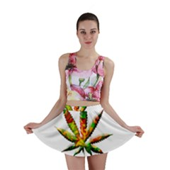 Marijuana Leaf Bright Graphic Mini Skirt