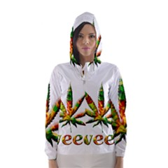 Marijuana Leaf Bright Graphic Hooded Wind Breaker (Women)