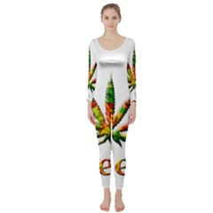 Marijuana Leaf Bright Graphic Long Sleeve Catsuit