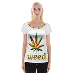 Marijuana Leaf Bright Graphic Women s Cap Sleeve Top