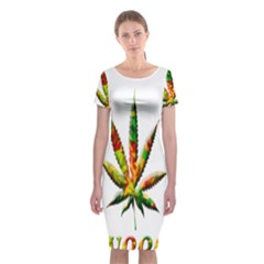 Marijuana Leaf Bright Graphic Classic Short Sleeve Midi Dress