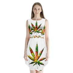 Marijuana Leaf Bright Graphic Sleeveless Chiffon Dress
