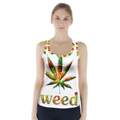 Marijuana Leaf Bright Graphic Racer Back Sports Top