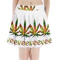 Marijuana Leaf Bright Graphic Pleated Mini Skirt